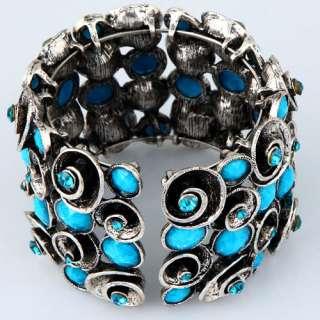 vintage tibetan silver swirl flower blue agate bead crystal cuff