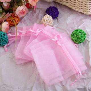 100pcs Light Pink Organza Jewelry Pouch Wedding Party Favor Gift Bags