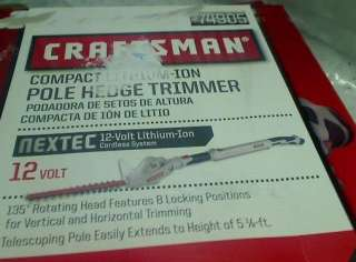 CRAFTSMAN POLE HEDGE TRIMMER 12 VOLT CORDLESS TOOL ONLY TADD