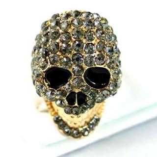 Head Skull 18K GP Gold Plated Gemstone Zirconia CZ Inlay Adjustable