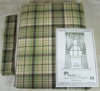 Country Green Brown Tan Plaid Oak Grove Lined Curtain Panels 72x84