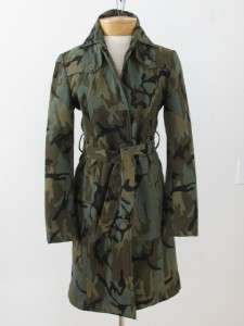 EXCELLENT! ESPRIT CAMOUFLAGE ARMY GREEN COTTON LONG TIE LADIES COAT