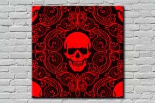 Tableau Canvas Déco Rouge Noir Tete de Mort 60x60cm
