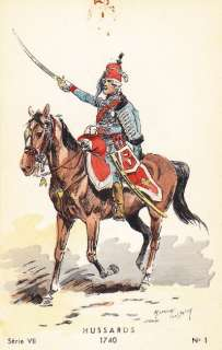 1740 HUSSARDS   FRENCH ARMY CAVALRY UNIFORM ART CARD