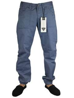 NEW MENS CRU 10 CH33 DESIGNER STONE & BLUE CUFFED CHINOS JEANS ALL