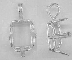 Emerald Cut 4 Prong Crown Pendant Setting Sterling Silver