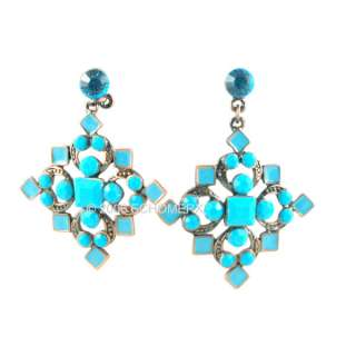 Earrings Victorian Style Turquoise blue Cross crystals