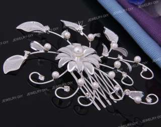 Silver Plated Flower Leaf Rhinestone Crystal Pearl Bridal Party Hair