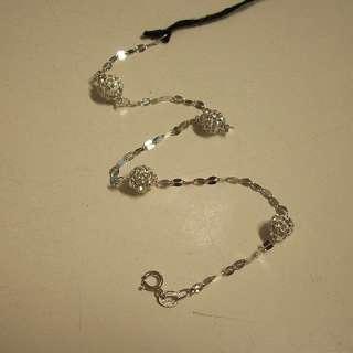 Bracciale Donna Oro Bianco 18 kt gr 1,60 Catena Sfere pavè