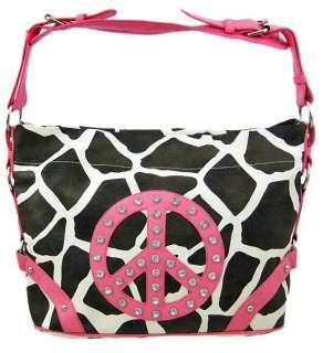 Giraffe Print Peace Sign Shoulder Bag Bright Pink Trim