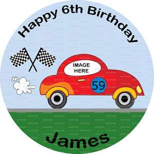 Racing Car Rice Paper or Icing Birthday Cake Topper