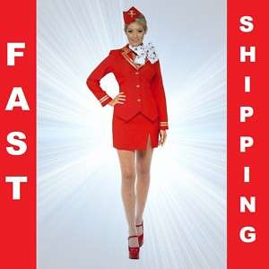 Air Hostess Fancy Dress Costume Outfit   Sizes S M L