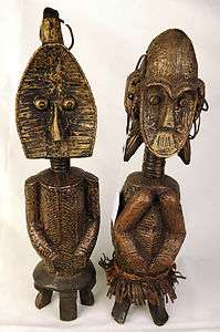 Bakota Reliquary Figures Pair   Gabon   African Tribal Arts