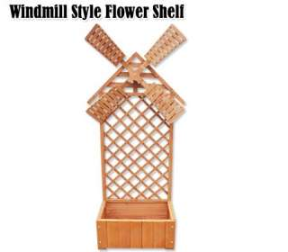 Wooden Windmill Design Flower Display Shelf / Planter