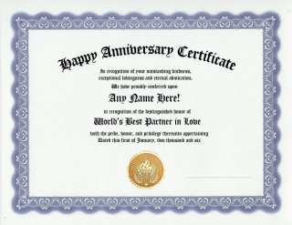HAPPY ANNIVERSARY AWARD CERTIFICATE HUSBAND / WIFE GIFT