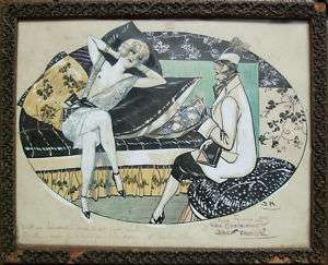 Dessin original gouache de Jack ABEILLÉ vers 1920