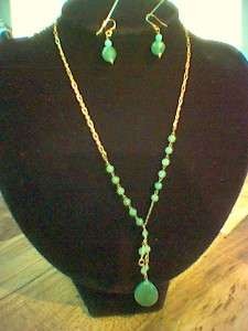 bead drop pendant Necklace & Earrings jewelry set LiZ Claiborne