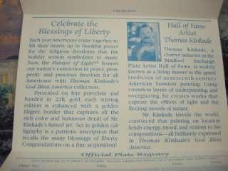 Thomas Kinkade Lights Liberty God Bless America Plate