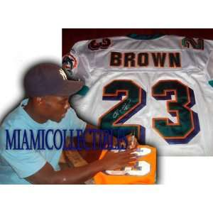 RONNIE BROWN Signed MIAMI DOLPHINS White Auth JERSEY