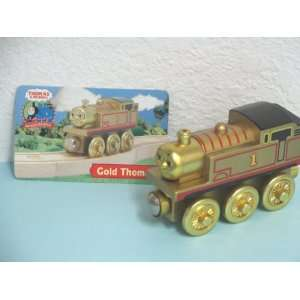 New GOLD THOMAS Thomas & Friends Wooden Train Engine