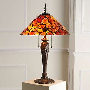 Tiffany Style Simulated Autumn Colored Agate Table Lamp