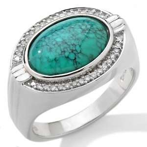 Mens East/West Oval Turquoise and Diamond Accent Band Ring