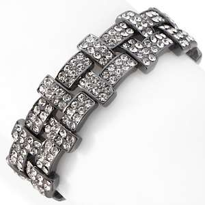 Justine Simmons Jewelry Tanzanite Color Crystal Hinged Bangle Bracelet