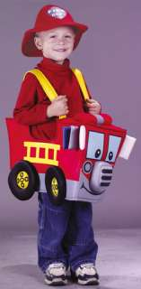 costumes in shopping cart fire truck toddler
