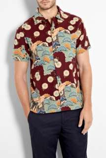 YMC  Burgundy Floral Print Hawaiian Shirt by YMC