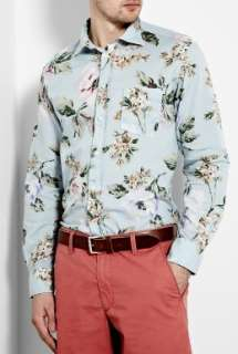 Hartford  Sky Blue Hibiscus Print Shirt by Hartford