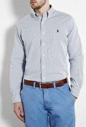 white blue fine stripe shirt by Polo Ralph Lauren