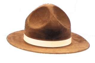 Adult Tan Flocked Ranger Hat   Park Ranger Costume Hats   15GC119