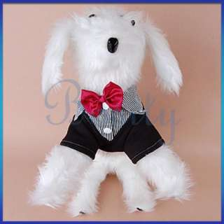 Business Suit Pet Dog Party Formal Tuxedo Coat Strip Shirt Clothes Red