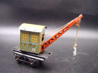 Vintage German Train Track Log Crane Tin Litho Toy