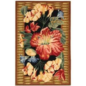 Feet 6 Inch by 4 Feet Hand Hooked Floral Wool Area Runner, Multicolor