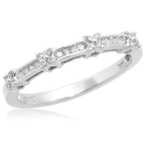 10k White Gold Diamond Anniversary Stack Ring (1/10 cttw