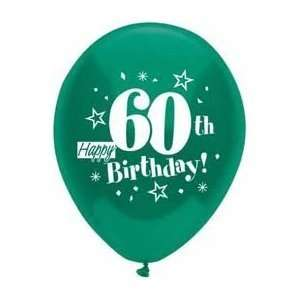 HAPPY 60TH BIRTHDAY Assorted 12 Helium Quality Latex