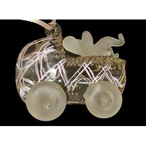 Baby Girls Pink Carriage Glass Christmas Ornament