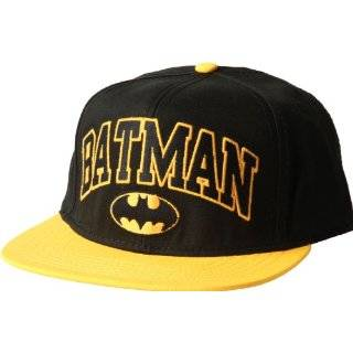 BATMAN Embroidered FlatBill Adjustable Black/Yellow Baseball Cap HAT