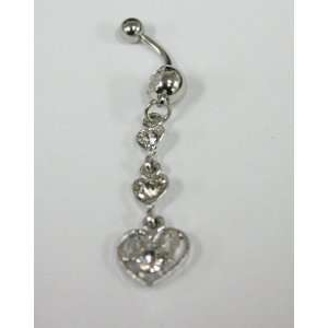Cubic Zirconia Chain Heart Belly Ring   Navel Ring