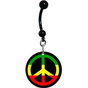 Handcrafted Rasta Peace Sign Belly Ring Jewelry