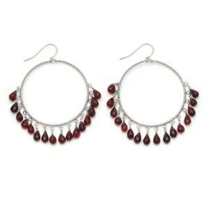 Wire wrapped Large Dangle Hoop Earrings with Red Garnet Drops Jewelry