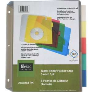 Filexec 30203, Binder Pocket With 5 Colored Tab, Clear, Yellow, Red