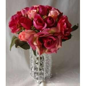 Pink Beauty Rose Wedding Bouquet 18 Silk Rose Flowers