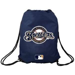 Milwaukee Brewers Navy Blue Team Logo Drawstring Backpack