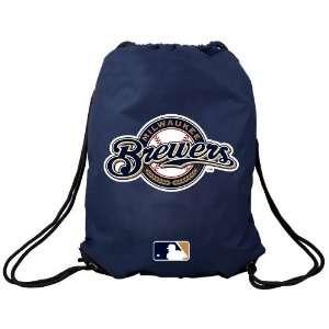Milwaukee Brewers Navy Blue Team Logo Drawstring Backpack