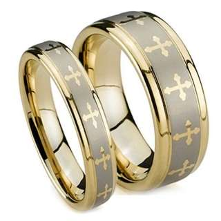 Matching Wedding Band Set, Gold Plated Tungsten Rings, High Polish