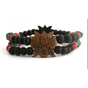 Rosewood Bead Bracelet with Yak Bone Carved Lotus Everything Else