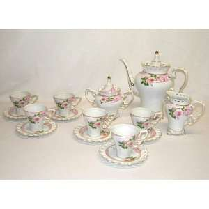 Pink Roses Coffee Set with Gold Accents, Set of 15