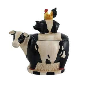 Farm Animals Ceramic Cookie Jar Cow Pig Chicken: Kitchen & Dining